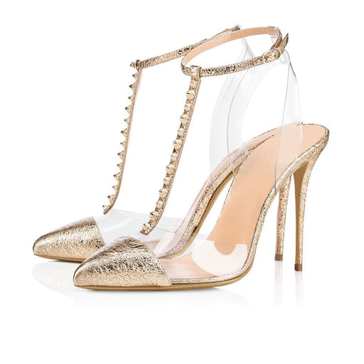 Pointed Rivets splice stilettoSexy Party Golden Heels  Sandals