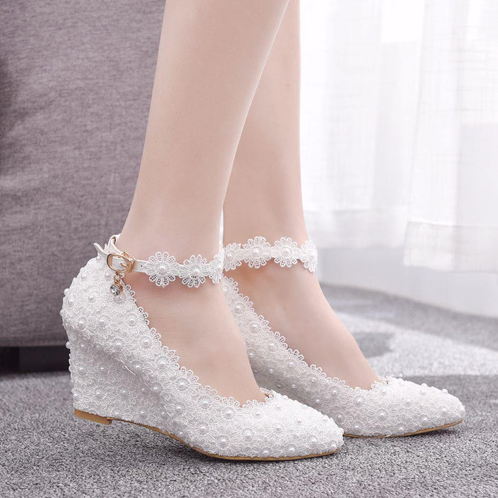 Bridal Heels - lace Pearl