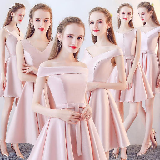 Pink short bridesmaid dress slim evening dress