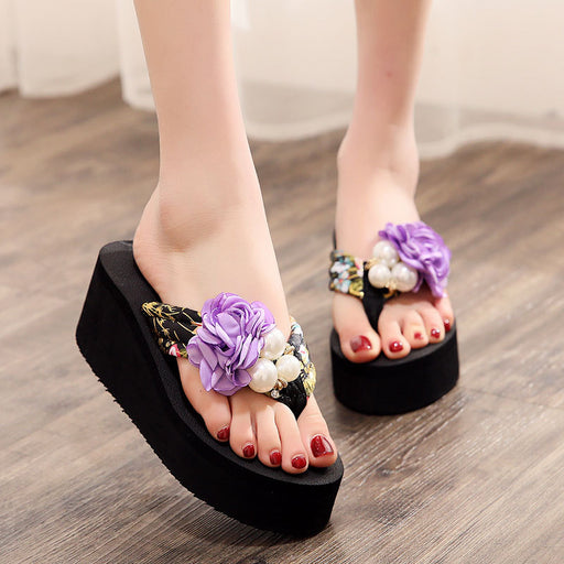 Thick bottom beach shoes fashion pinch seaside anti-skid flip-flops