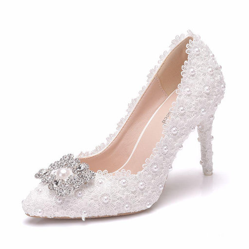 Bridal Heels - Lace Square buckle Rhinestone