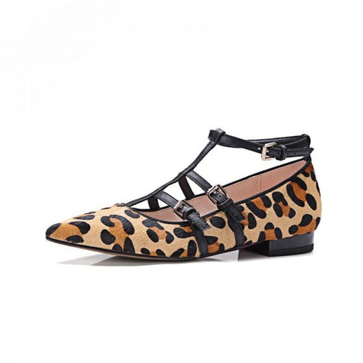 Pointed T-strap Leopard Flats