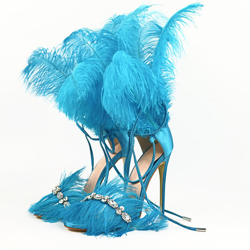 Night Club Blue Feather Stiletto Bandage Sparkle  Rhinestones High Heels Sandals