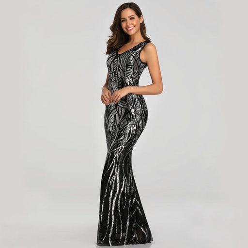 Sequin lace fishtail party evening dress