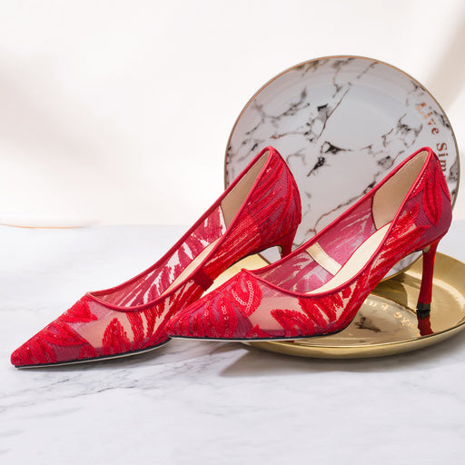 Wedding  Heels -Red Lace