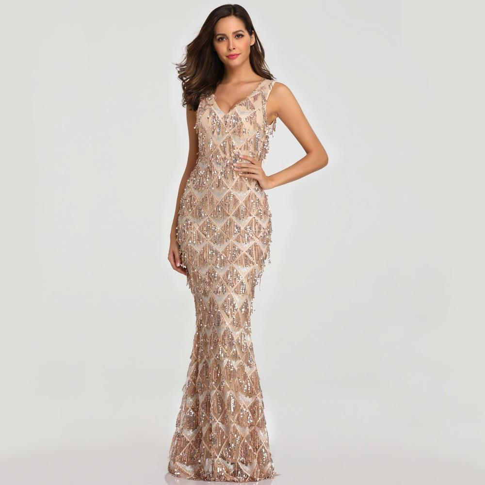 Gold tight beaded evening dress