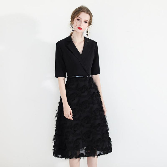Party short temperament black slim evening dress