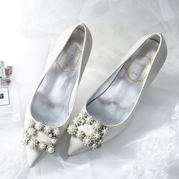 Wedding Heels  - White Pearl