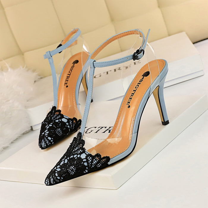 Banquet transparent bare feet stiletto heels lace pointed T-strap sandals high heels