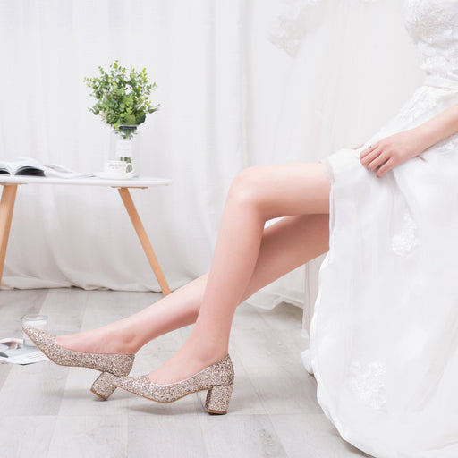 Wedding Heels  - Golden little CK princess crystal
