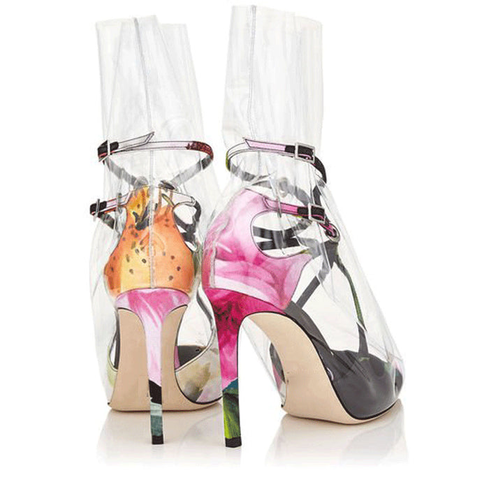 Black Pointed Foot Loop Wrapped Transparent PVC High Heels