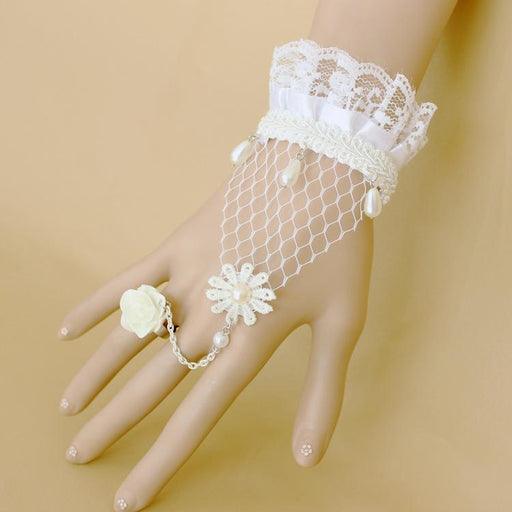 Fancy Pastel Lace White rose lace pearl bracelet bracelet with ring