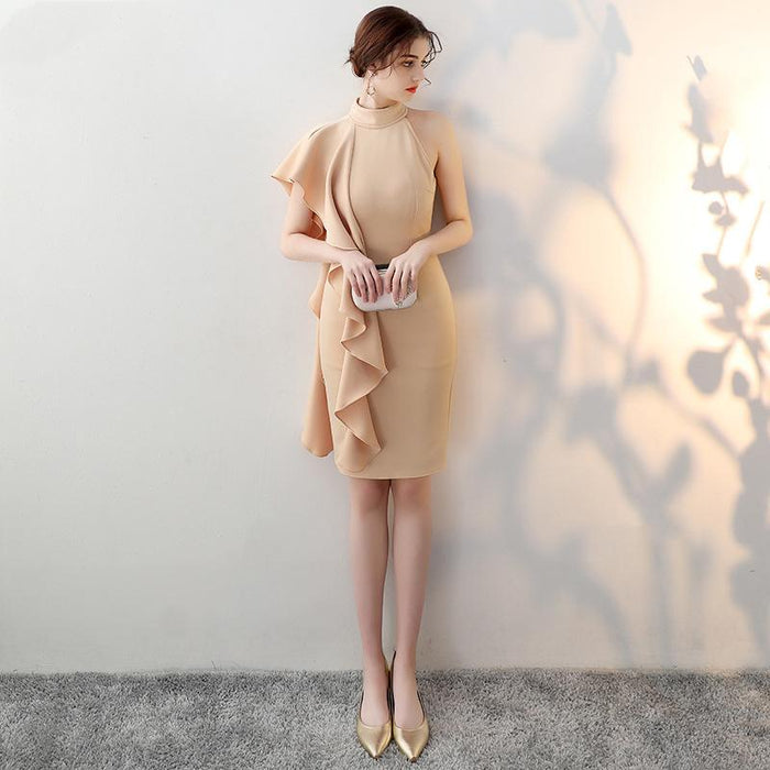 Night Club tight irregular Trumpet sleeve champagne Dress