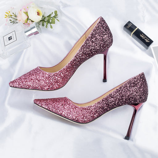 Wedding  Heels -Rose Red Sequins Rainbow Pastel