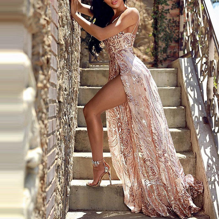 Sequins Tassel Split Evening Night Club Party Dress