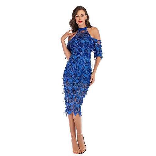Blue sexy slim sequin banquet fringe dress
