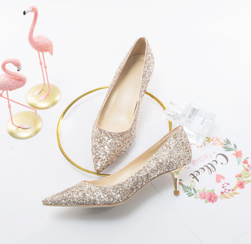 Wedding  Heels -Champagne Golden Sequins