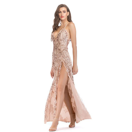 Sexy backless apricot sequins split party dress
