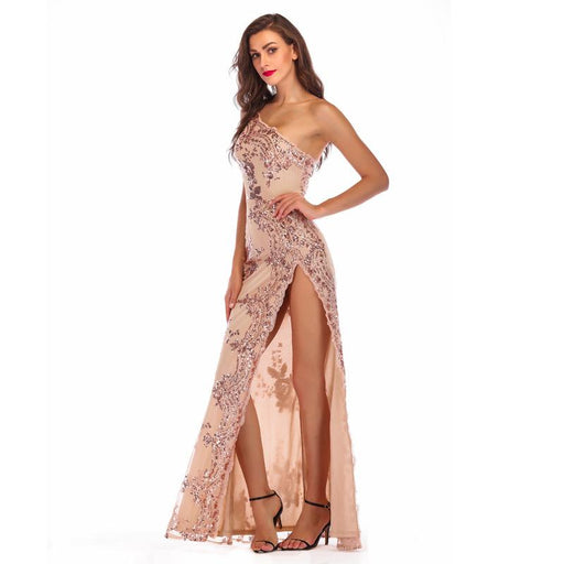 Apricot  sexy backless shoulder dress high split long banquet dress