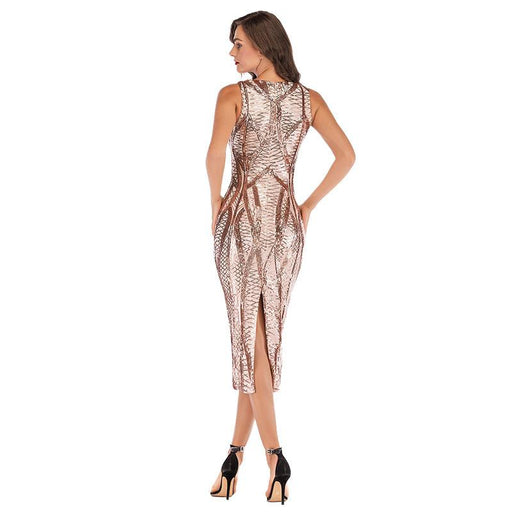 Gold Sexy Deep V-Neck Stretch Glitter Shiny Sleeveless Dress