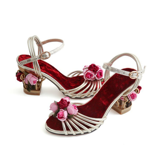 Party Dazzling Golden Bird Cage  Flowers Sandals