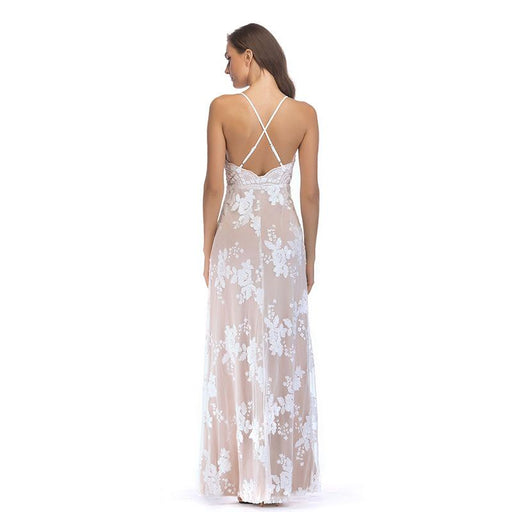 White sequined open back split party dress