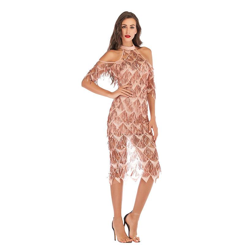 Apricot sexy slim sequin banquet fringe dress