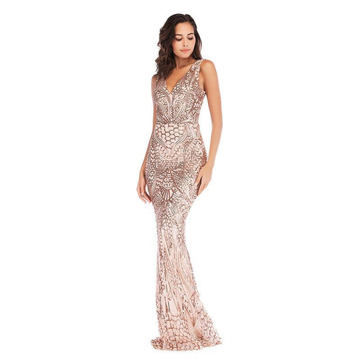 Rose Gold Sexy Deep V-Neck Shiny Glitter Dress Dress