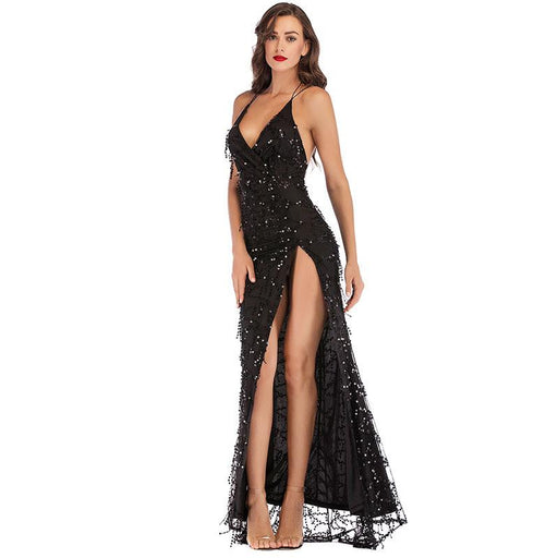 Bridesmaid sequined tassel high fork strap black dress
