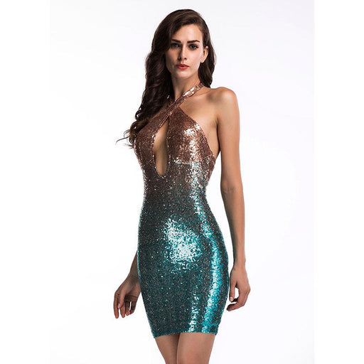 Colorful evening dress sexy Glitter dress