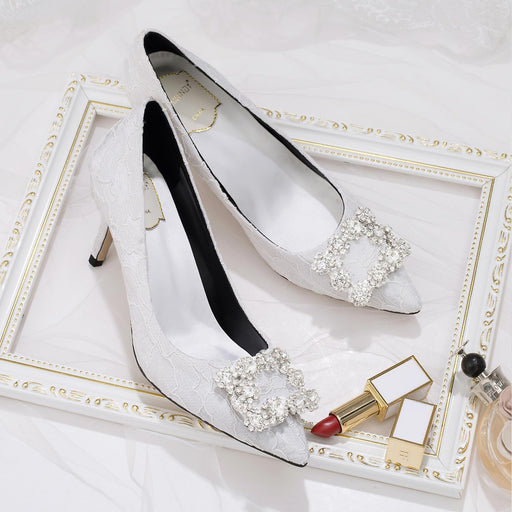 Wedding Heels  - White Lace