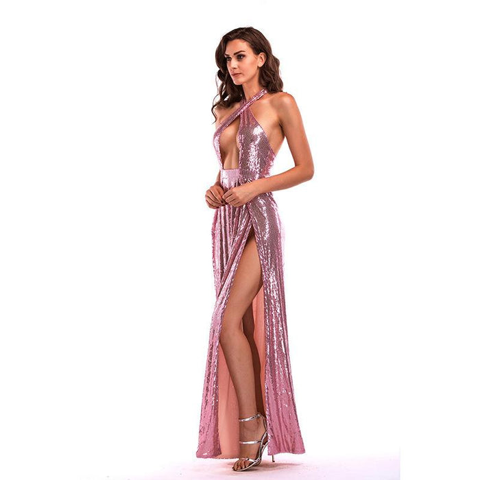 Pink  Sexy Backless Glitter High Split Banquet Long Dress