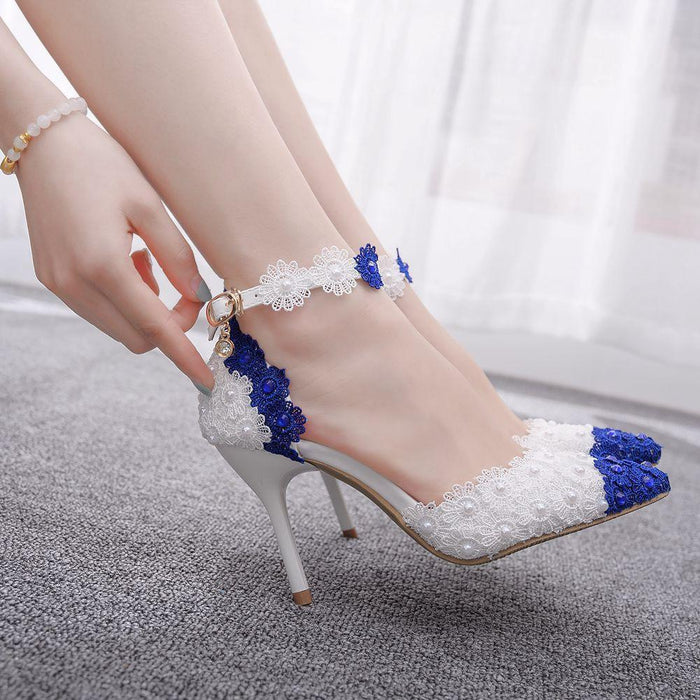 Bridal Heels -Blue and white porcelain  Lace