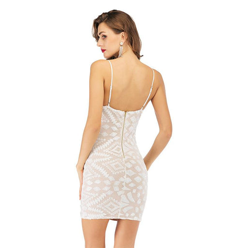 White sexy backless stretch strap sequin dress