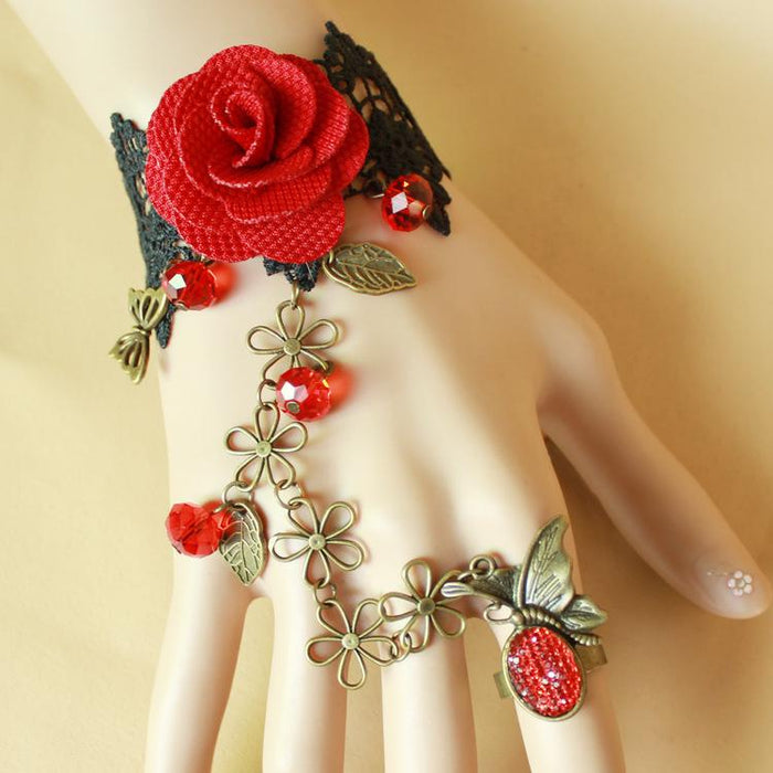 Fairy Lolita Lacy Black lace red rose flower bracelet with ring in one