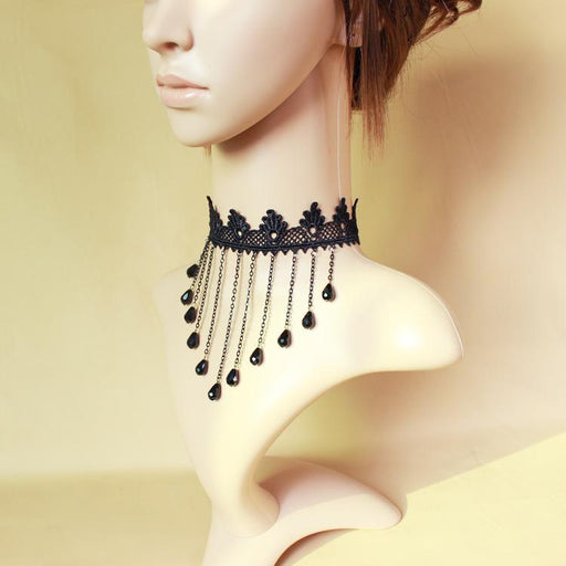 Fairy Sweet Lacy   Queen Accessories Atmospheric Black Lace Crystal Tassel Necklace