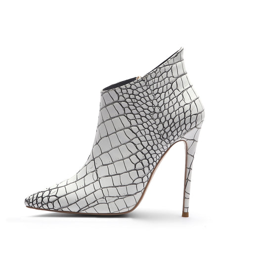 Pointed Serpentine Ankle Boots High Heels