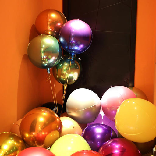 22 inch 4d rainbow gradient color balloons 4D perfect round three-dimensional aluminum film balloons party wedding decoration