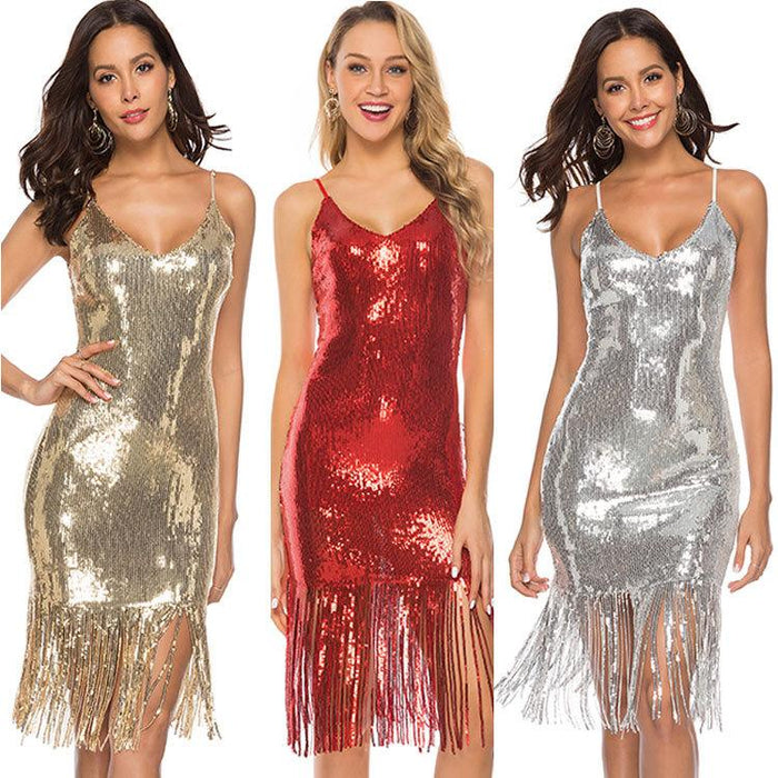 Sequins Tassel V Neck Night Club Party Dress