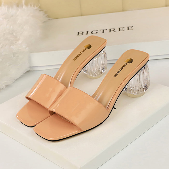 Transparent heel with thick heel and high heel square head with slippers