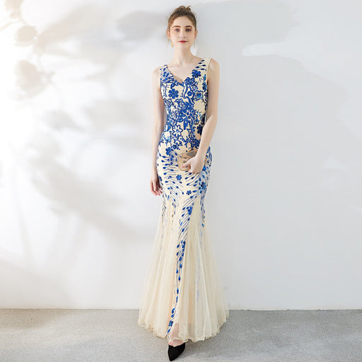 Night Club temperament elegant long fishtail Sparkle sexy  dress