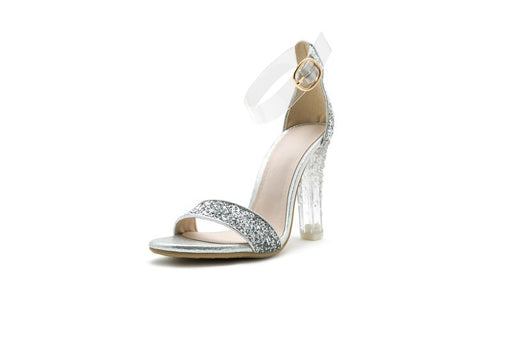 Sequined Open Toe Crystal Gold Silver High Heel Sandals