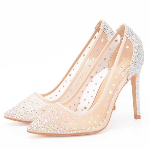 Pearl rhinestone sexy transparent high-heeled / flat shoes