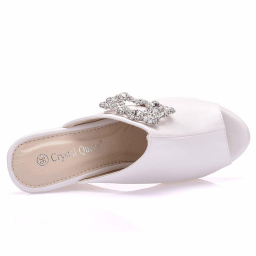 Bridal Sandals -Rhinestone Square buckle