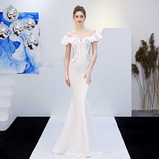 Party long White fungus slim fishtail evening dress