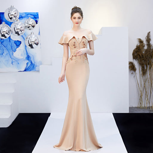 Bridesmaid long apricot fungus slim fishtail Dazzling  evening dress