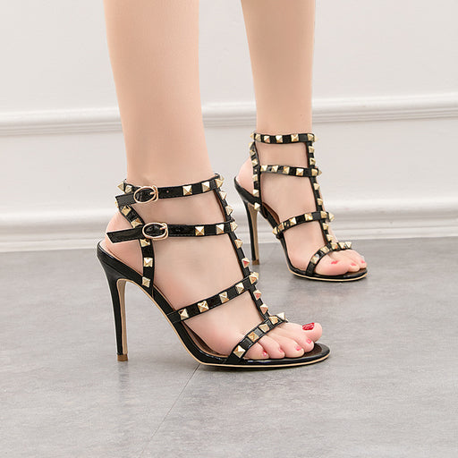 European and American style retro metal rivets sexy sandals Roman shoes