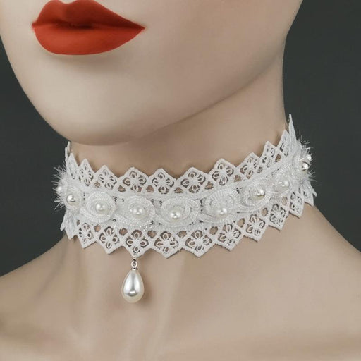 Fancy Sweet  White lace pearl choker bridal accessories collar necklace