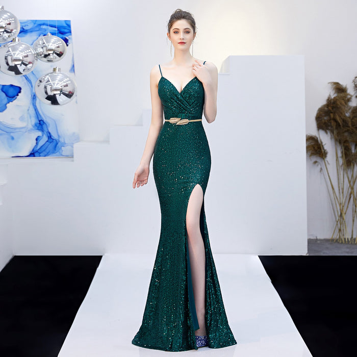 Party sexy high slit Sequin dark green dress