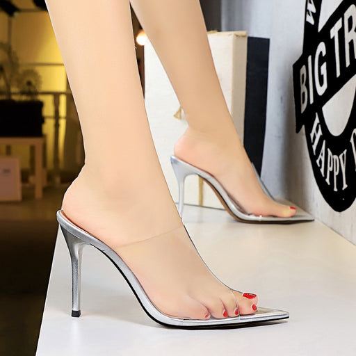 Sexy transparent hollow fine heel high-heel pointed pointed fish mouth slippers